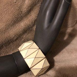Forever 21 Stretchy Cream/Gold Bracelet